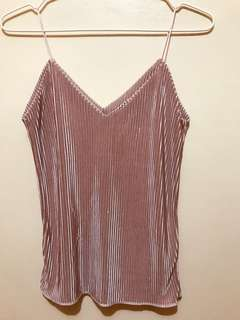 Pleated metallic sleeveless