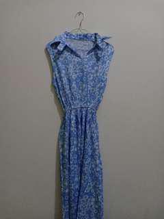 Long Dress Blue Flower [Jual Rugi]