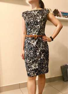 the executive leopard printed black & white dress #July100