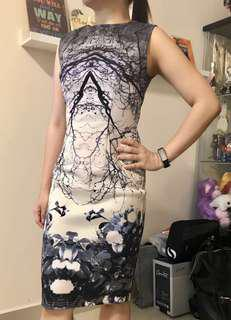 doublewoot blue & white abstract bodycon dress #July100