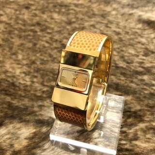 Hermes 蜥蜴皮金釦手鐲錶 手錶