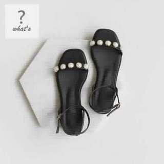 🚚 Korea 👡 韓國時尚細帶珍珠涼鞋