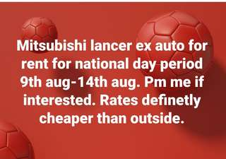 Car Rental for National Day Period