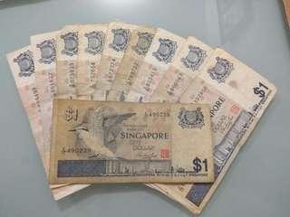 10 pcs Singapore Bird series 1 Dollar