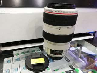 USED CANON EF 70-300MM F4-5.6 L IS USM ZOOM LENS.