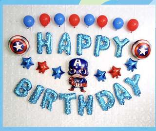 <In-stock> Happy Birthday Party Decoration set- Captain America set A