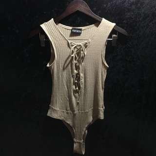 Crisscross Front Deep-V Bodysuit