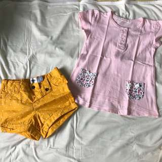 Old Navy Yellow Shorts & Fox Pink Shirt Set