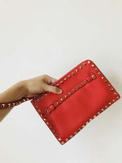 REAL and New Valentino Clutch 粉橙紅色 23x16cm 有保證卡 說明書 後備釘