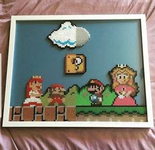 Hama beads design big portrait of super Mario nintendo