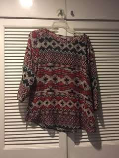 Chicos Red Pattern Long Sleeve Blouse