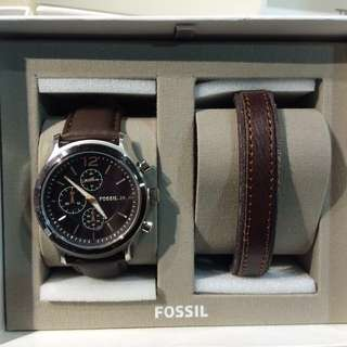 Fossil Watch Original Chonograph Dark Brown Leather Watch & Bracelet set