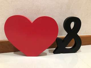 Display Hearts and & wooden blocks