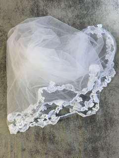 白色lace婚紗頭紗/ 枱布