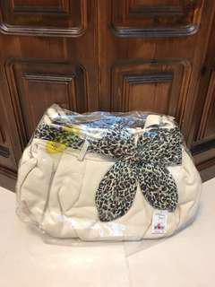全新白底豹紋蝴蝶結包包