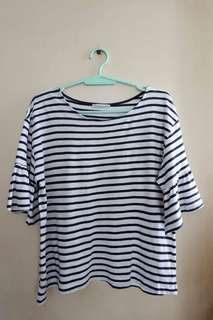 Preloved Zara Trafaluc stripes bell sleeves top