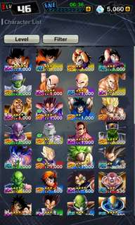 Dragon ball legends account 11 SP units! Lv 46!