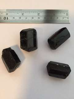 Set of 4 natural terminated black tourmaline crystals from India