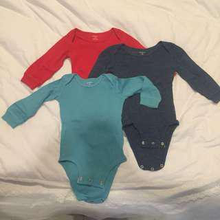 Carter's Long Sleeve Jumpsuit Tangan Panjang Set isi 3 12m