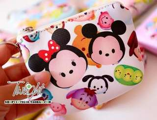New Tsum Tsum Mickey Minnie Figures Doll Comestic Bag PU Leather Purse for kids girls gifts