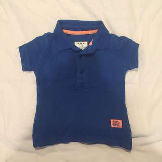 Baby Polo Shirt 6-9m Blue Biru