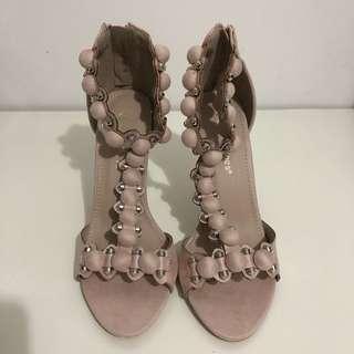 Suede stud bar heeled sandals