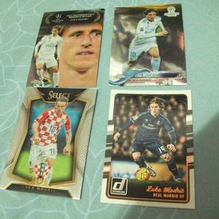 Luka Modric Panini/Topps trading cards (Lot of 4 cards)