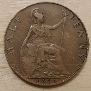 1921 Great Britain King George V Half Penny Coin