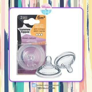 "‼️NEW‼️ TOMMEE TIPPEE CTN ""Anti-Colic"" Fast Flow Nipples 6m+"