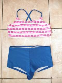 Baju Renang Anak Perempuan (Girls Swimsuit) Pink Blue 14-16 tahun - OP upf 50+