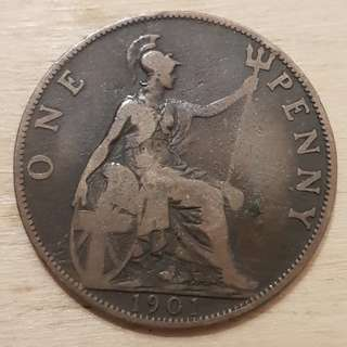 1901 Great Britain Queen Victoria Penny Coin