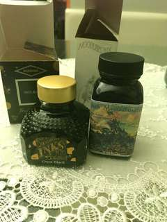 Ink samples of 54th Massachusetts and Diamine Onyx Black