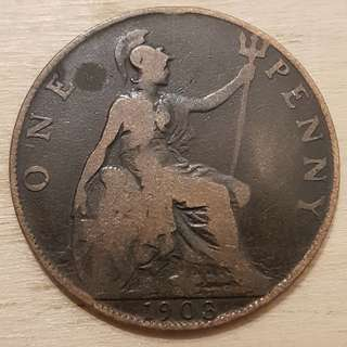 1903 Great Britain King Edward VII Penny Coin