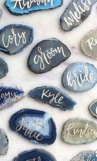 Agates Slice Customised Calligraphy