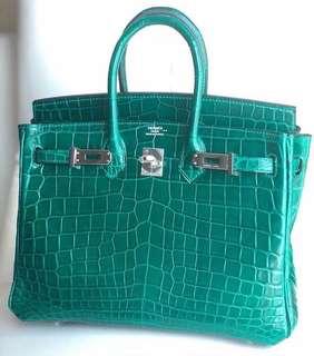 Hermes birkin 25cm Emerald Niloticus lisse Phw