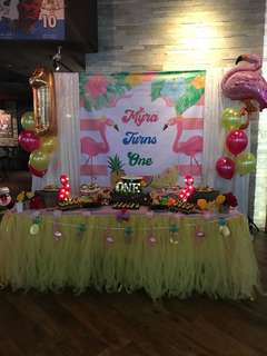 Myra dessert table banner first birthday flamingo