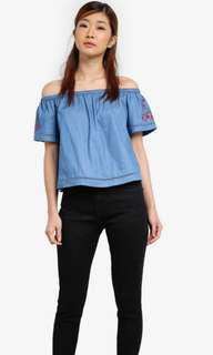 Something Borrowed Embroidered Off Shoulder Top
