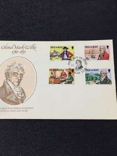 Isle of Man 1981 Colonel Mark Wilks FDC stamps