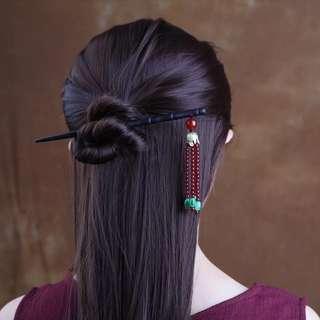 🚚 預購「典雅中國風綠玉髓紅瑪瑙黑檀木髮簪簪子」