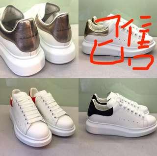 Alexander Mcqueen Oversized Sneaker Heel hight 4.5cm 100% Calfskin 4隻色 (金色HKD3680) Real and New