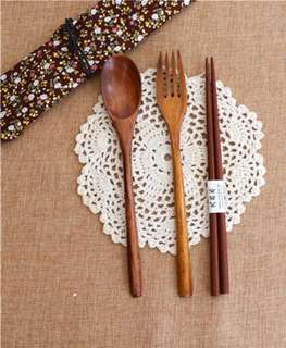 Wooden Spoon & Fork with Cloth Pouch