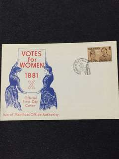 Isle of Man 1981 Votes for Women FDC stamp
