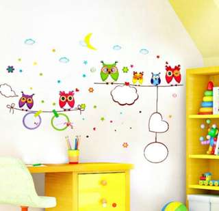 Owls and Shapes Wall Sticker
