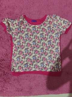 Baju Casual pink Bunga-bunga