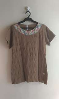 Plus Size Brown Top with Neckline Detail