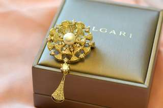 🚚 👑14K Gold-filled Brooch w fresh water pearl - Bulgari design