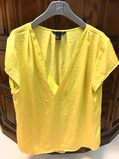 素色黃色V領短袖上衣