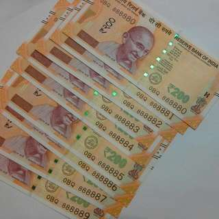 9 India 200 Rupees Almost Solid 8 Notes Unc Running