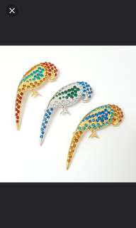 Colorful Rhinstone Parrot Brooches Japan Premium quality accessories  Classic fashion design Size: 5.5cm length. 1 for $9.90