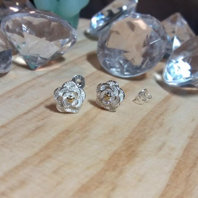 #180701_鍍銀耳環~小黃花
